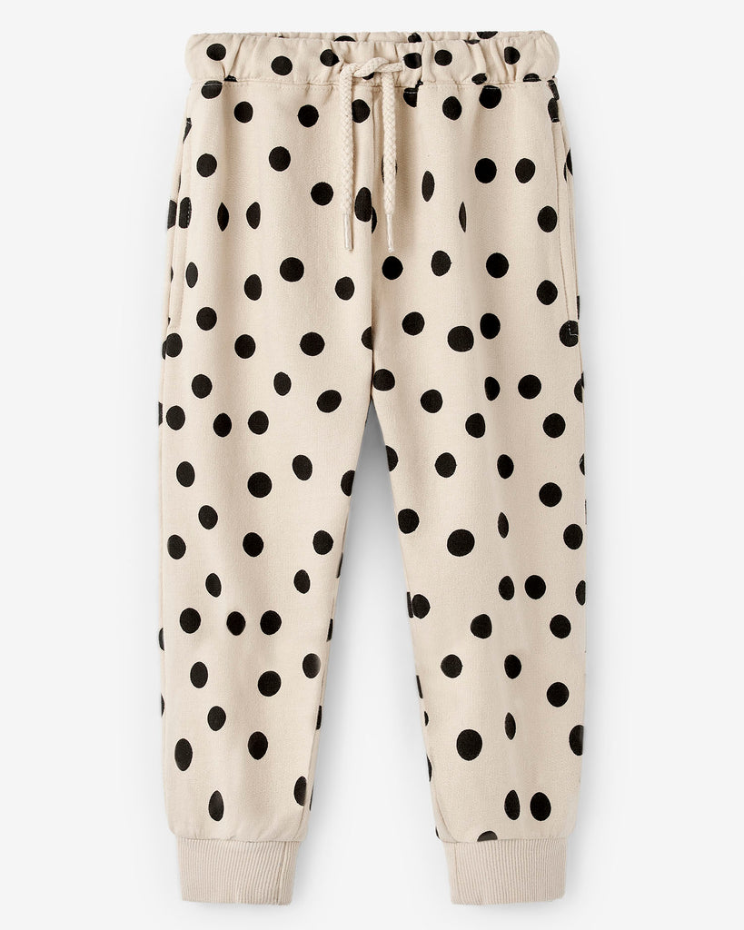 Nadadelazos polkadot pants with a back pocket. Black and white. made of 100% organic cotton.