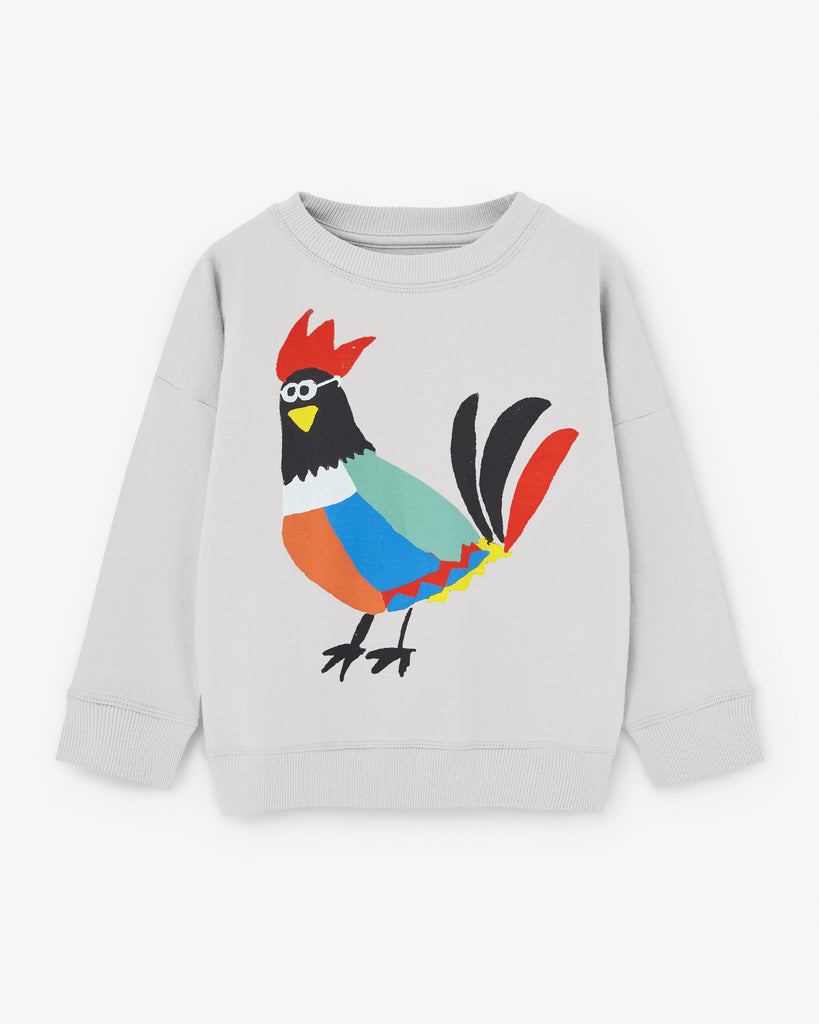 Nadadelazos organic cotton sweatshirt with rooster print. Made ethically in India.