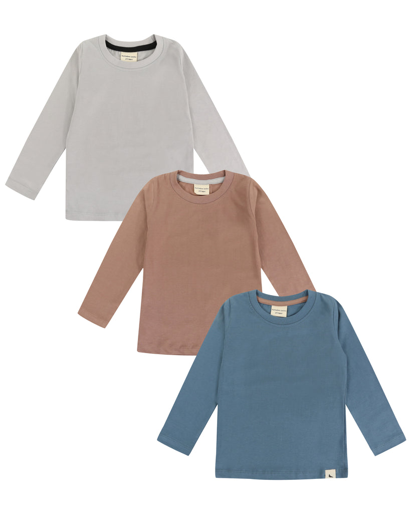 Three pack long sleeve tops in grey, pink and blue. Made of 100% organic cotton.
