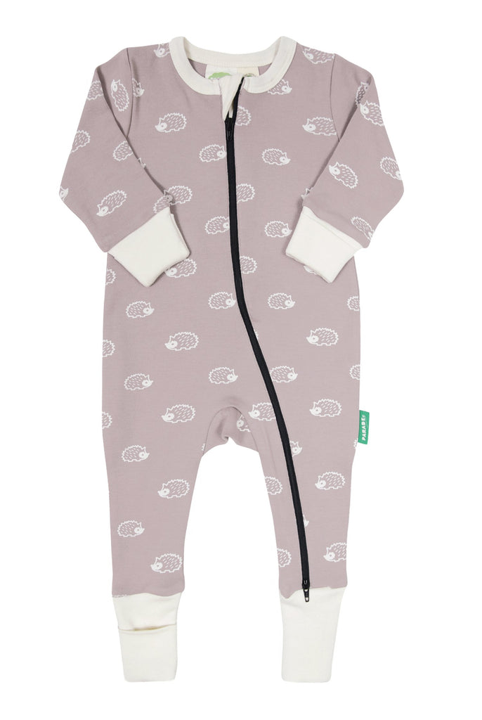 Parade Organics two-way zipper romper, long sleeve & hedgehog all over prints. Made with GOTS certified organic cotton.