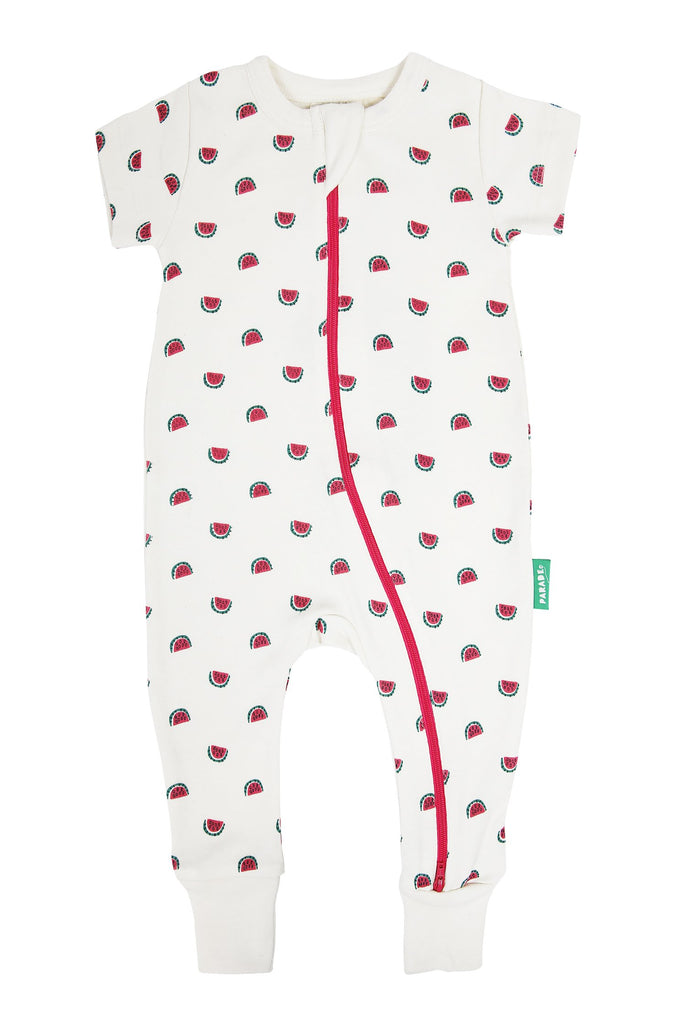 Parade Organics Two-Way Zip Romper Watermelon print. Short sleeve. Made of 100% GOTS certified organic cotton.