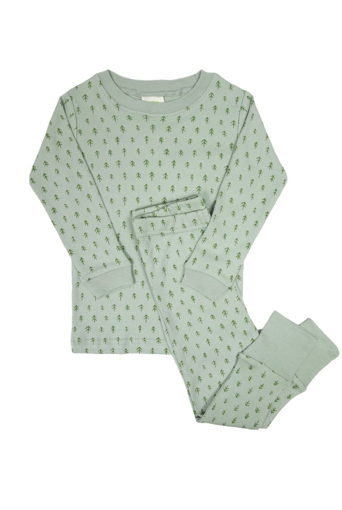 Parade Organics two-piece pyjamas with jade trees print. Made ethically in India with GOTS certified organic cotton.