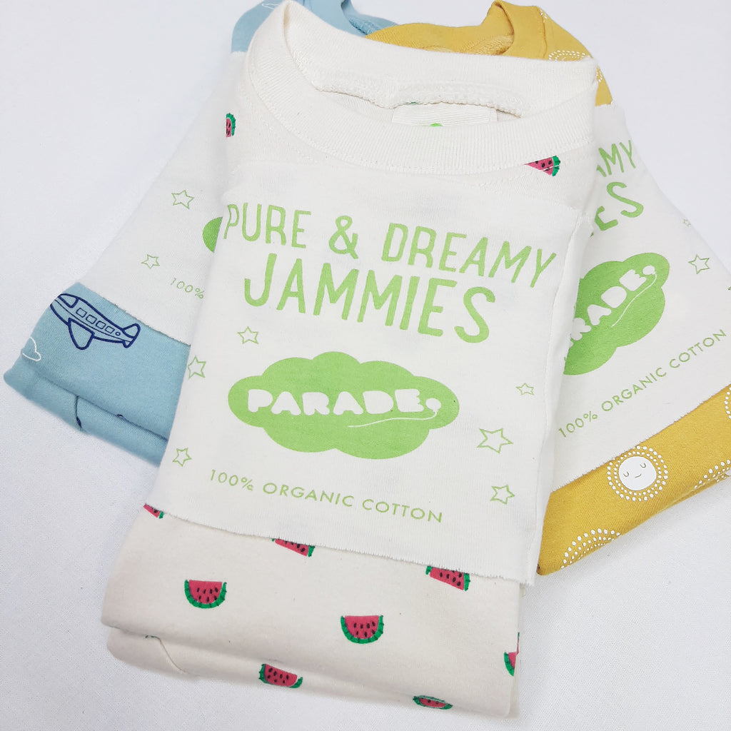 Parade Organics GOTS certified organic cotton summer pyjamas. Different prints.