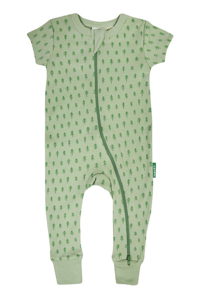 Two-way zip romper, ethically made in India with GOTS certified cotton. Fern print in green colour. Short sleeve.