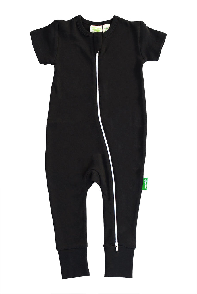Two-Way Zip Romper Black