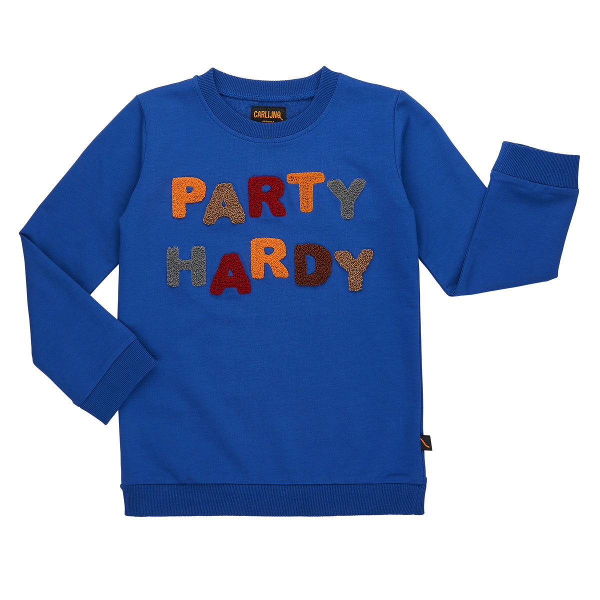 Royal Blue sweatshirt with towering letters that read Party Hardy. Made with organic cotton.