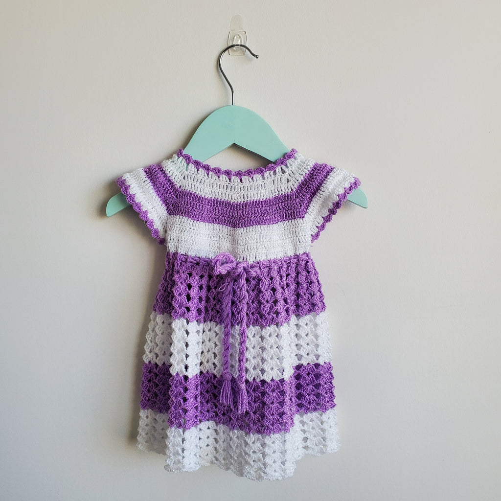 Purple and white Preloved crochet dress. Hand-made in Mexico. Excellent condition.