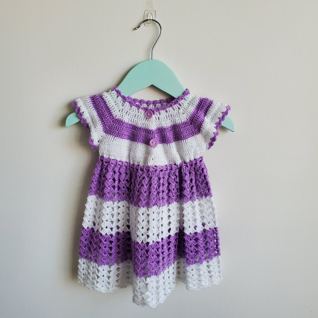 Purple and white Crochet Dress in size 6-12M
