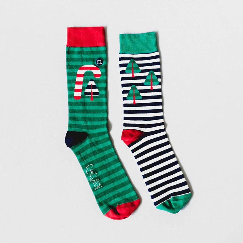 Adult Organic Socks - Candy Cane Christmas - 1 pair