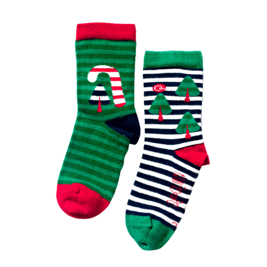 Q for Quinn Christmas socks. Made from Certified Organic GOTS cotton  Free from BPA, Parabens, Formaldehyde, Lead and other toxins commonly found in children's clothing and socks.