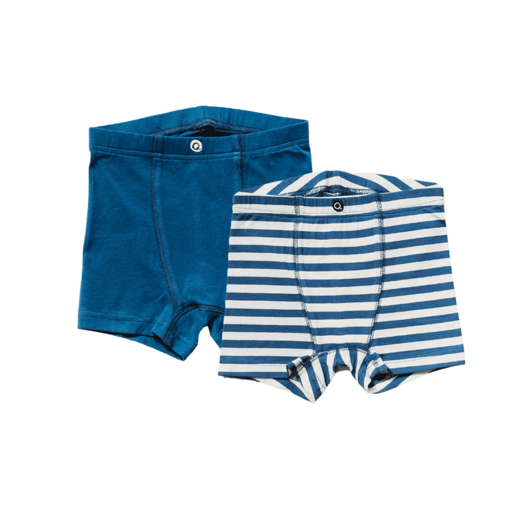 Q for Quinn boys boxer briefs underwear. Made with GOTS certified cotton. pack of two briefs, navy blue and stripe.