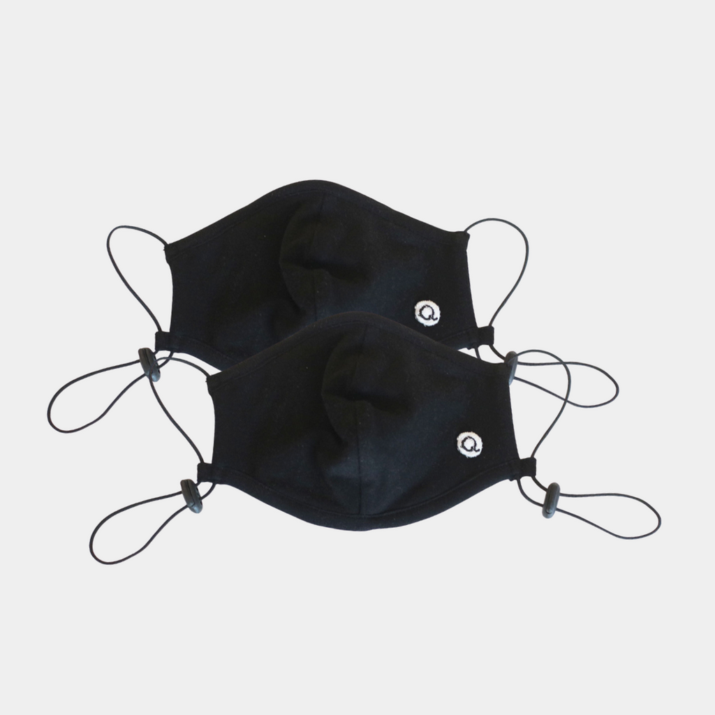 Q for Quinn black cotton masks, made ethically in India with 100% organic cotton.