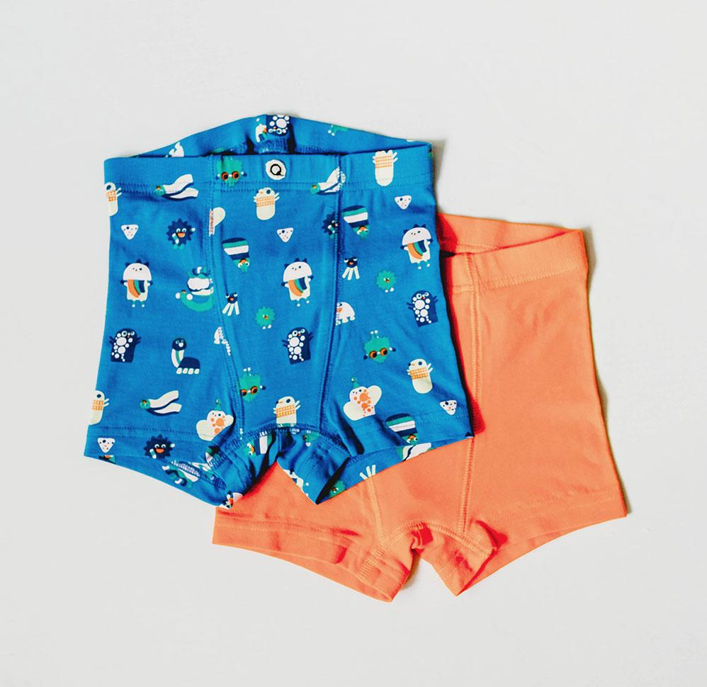 Q for Quinn organic underwear for boys.  Funny creatures  print, in blue and orange. Made ethically in India.