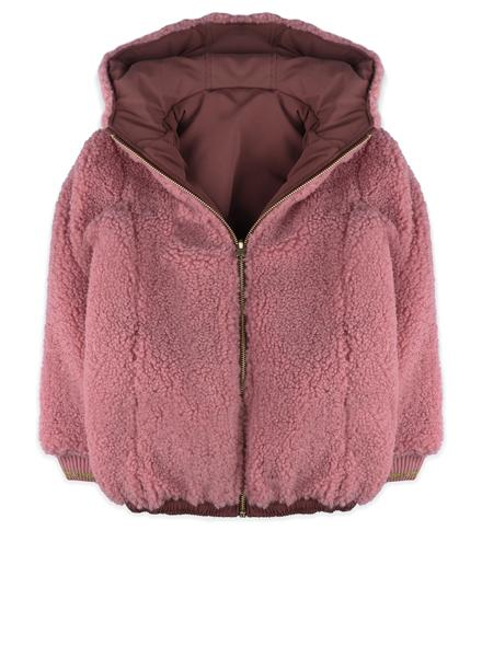 Pink reversible jacket with hoodie.