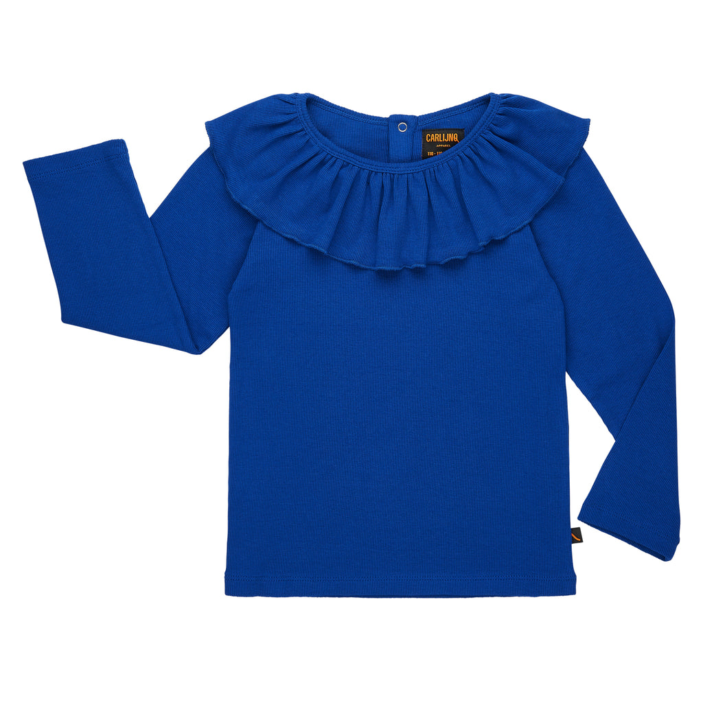 CarlijnQ Ruffle neck top in royal-blue, made ethically in EU. The perfect top to complement your kid's holiday outfit! 48% Cotton 48% Modal 4% Elastane
