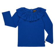Long sleeve, ruffled neck top in royal blue. Made with organic cotton.