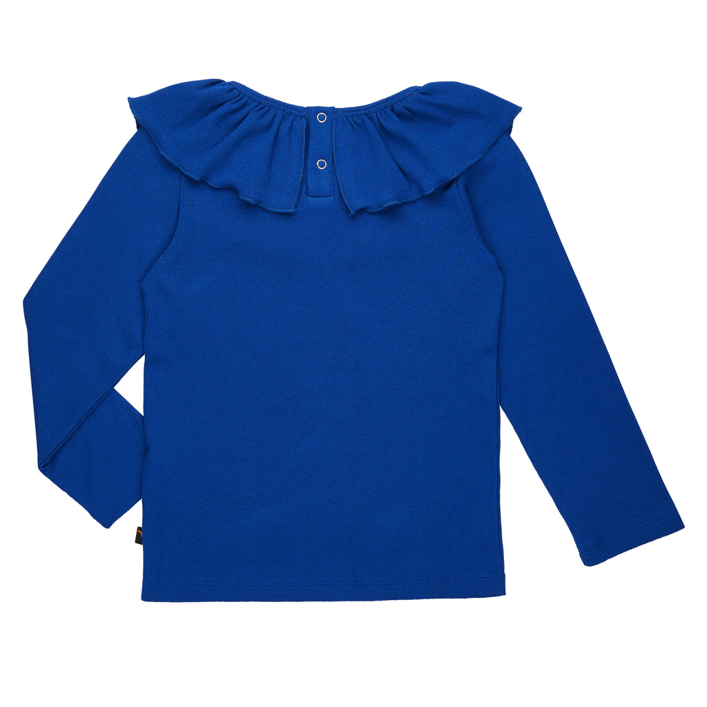 CarlijnQ Ruffle neck top in royal-blue, made ethically in EU. The perfect top to complement your kid's holiday outfit! 48% Cotton 48% Modal 4% Elastane. Back side comes with snap buttons.