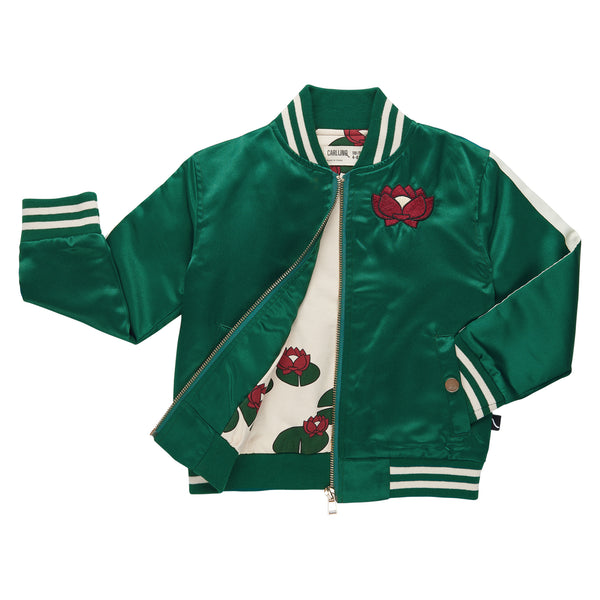 Satin Green Bomber Jacket + Embroidery