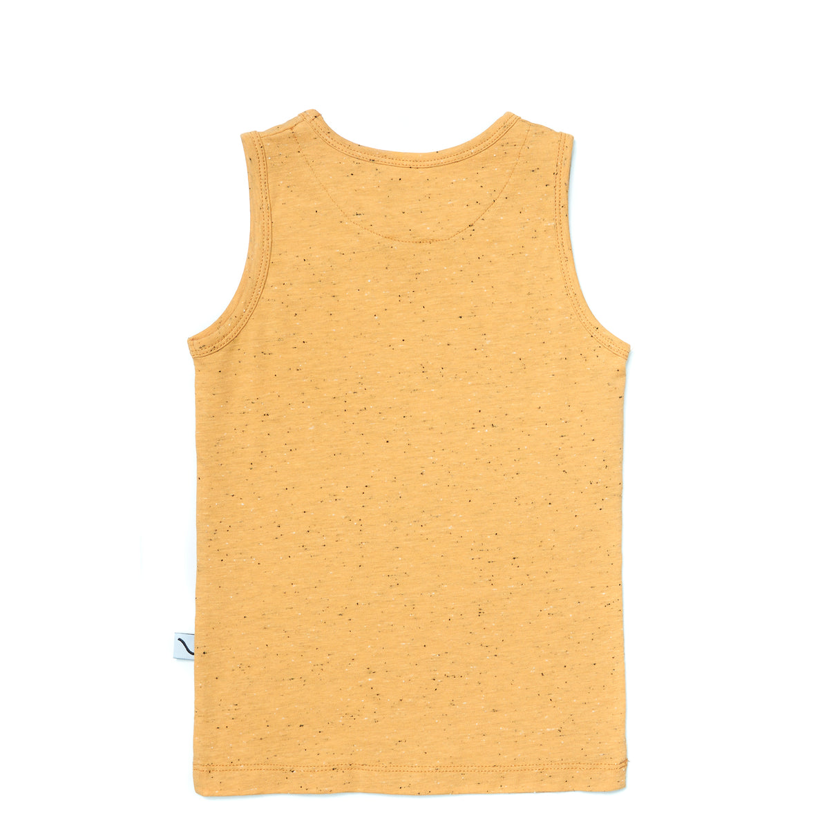 This sleeveless top in yellow, was made with organic cotton. Fabric has small dots in black and white.
