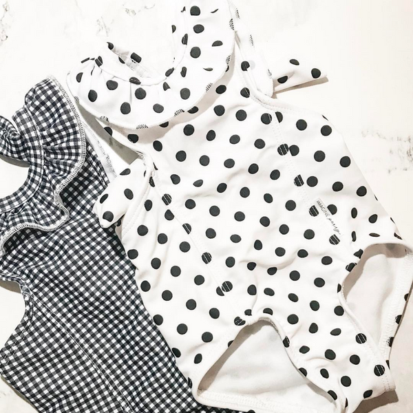 Girls Black and White Polkadot Ruffle One Piece