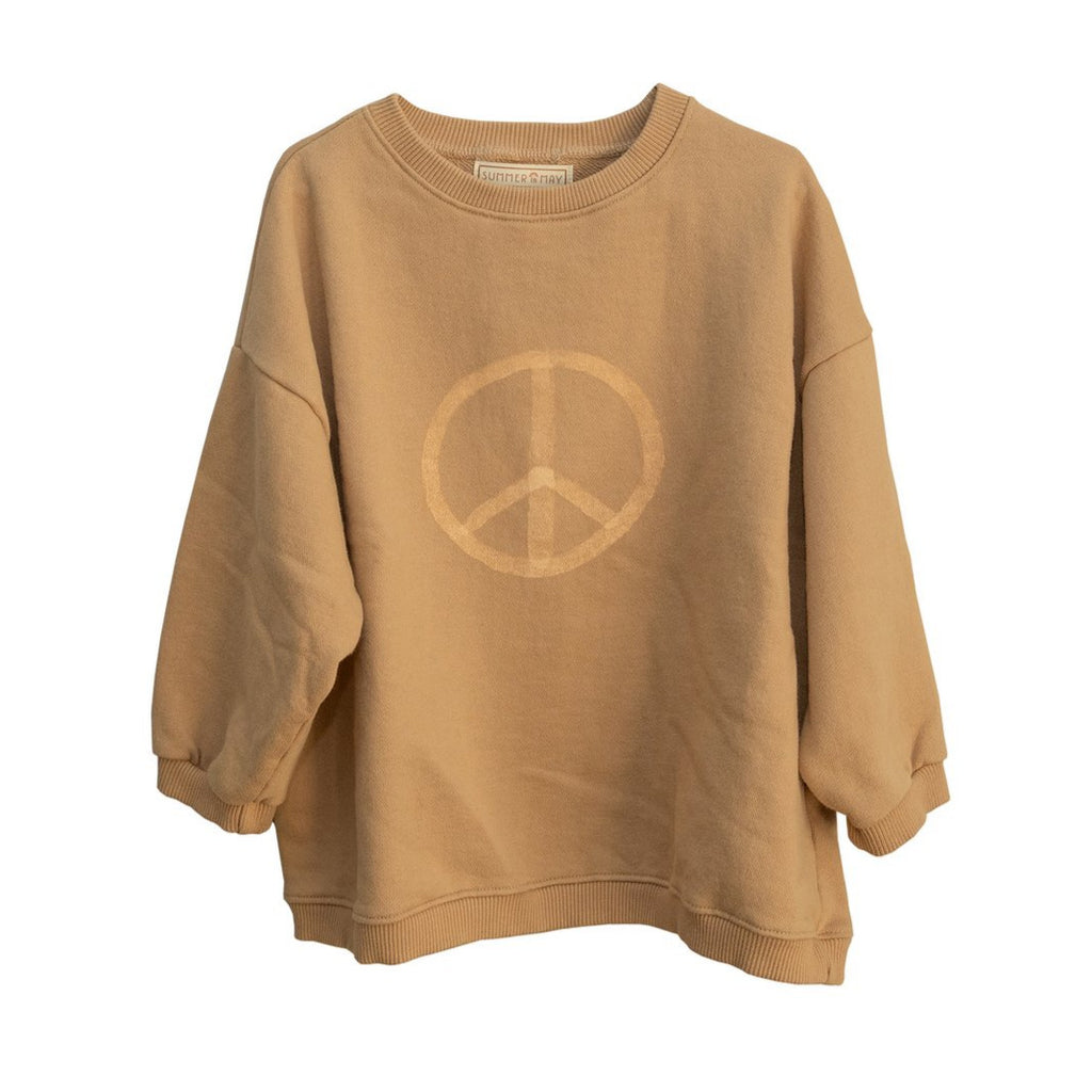Summer in May adult peace sign sweatshirt. Made ethically in India with 100% cotton.