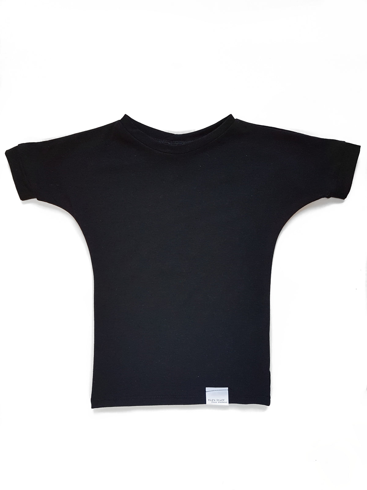 Grow with me black t-shirt made with organic cotton. It can be worn as a long top, or dress and as your kid grows taller it will start to fit more like a regular top.