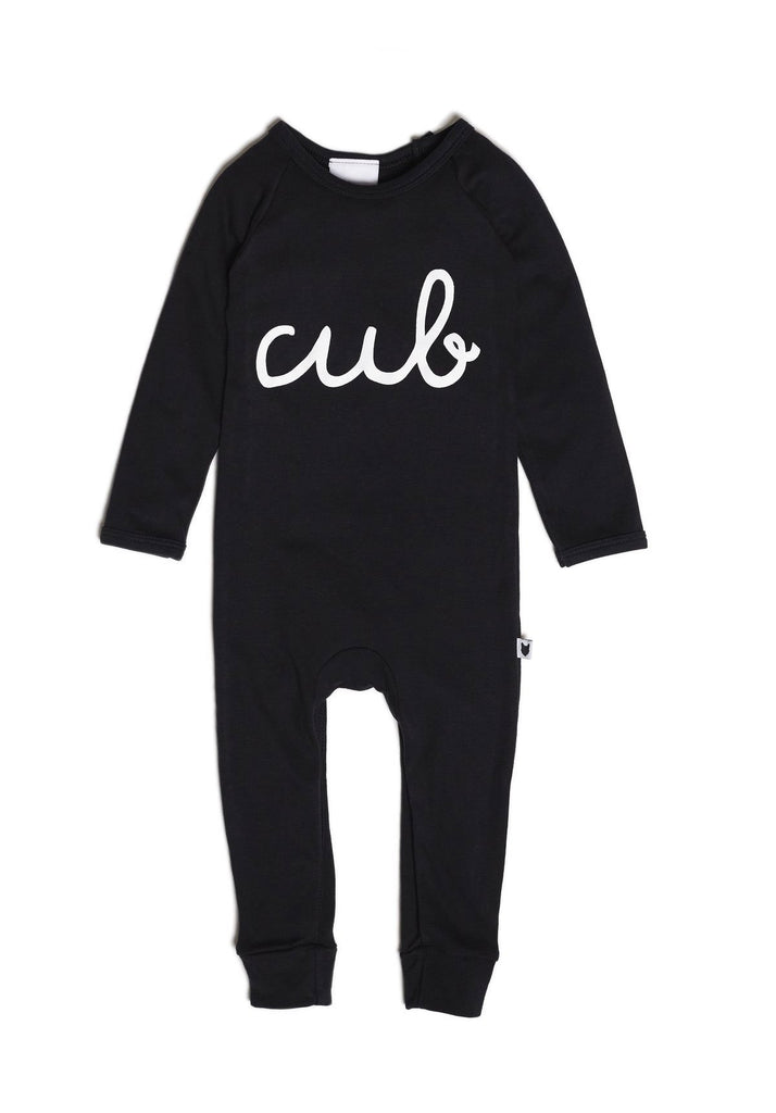 Tobias and the Bear romper, made ethically in the UK with 100% Oeko-tex certified jersey cotton • Black coloured base • Printed with safe, water-based inks.