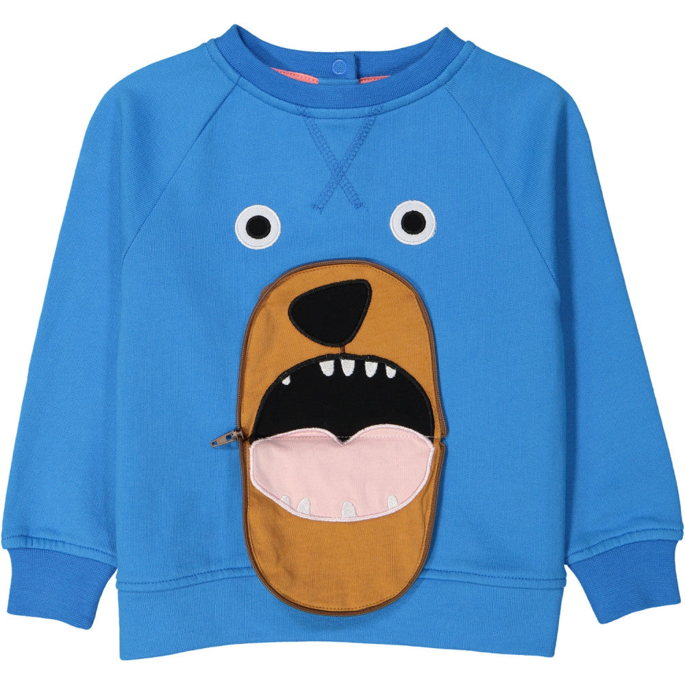 Tootsa Macginty Bear Zip Mouth sweatshirt in bright blue, ethically made in India with GOTS certified organic cotton. Bear's mouth zips open.