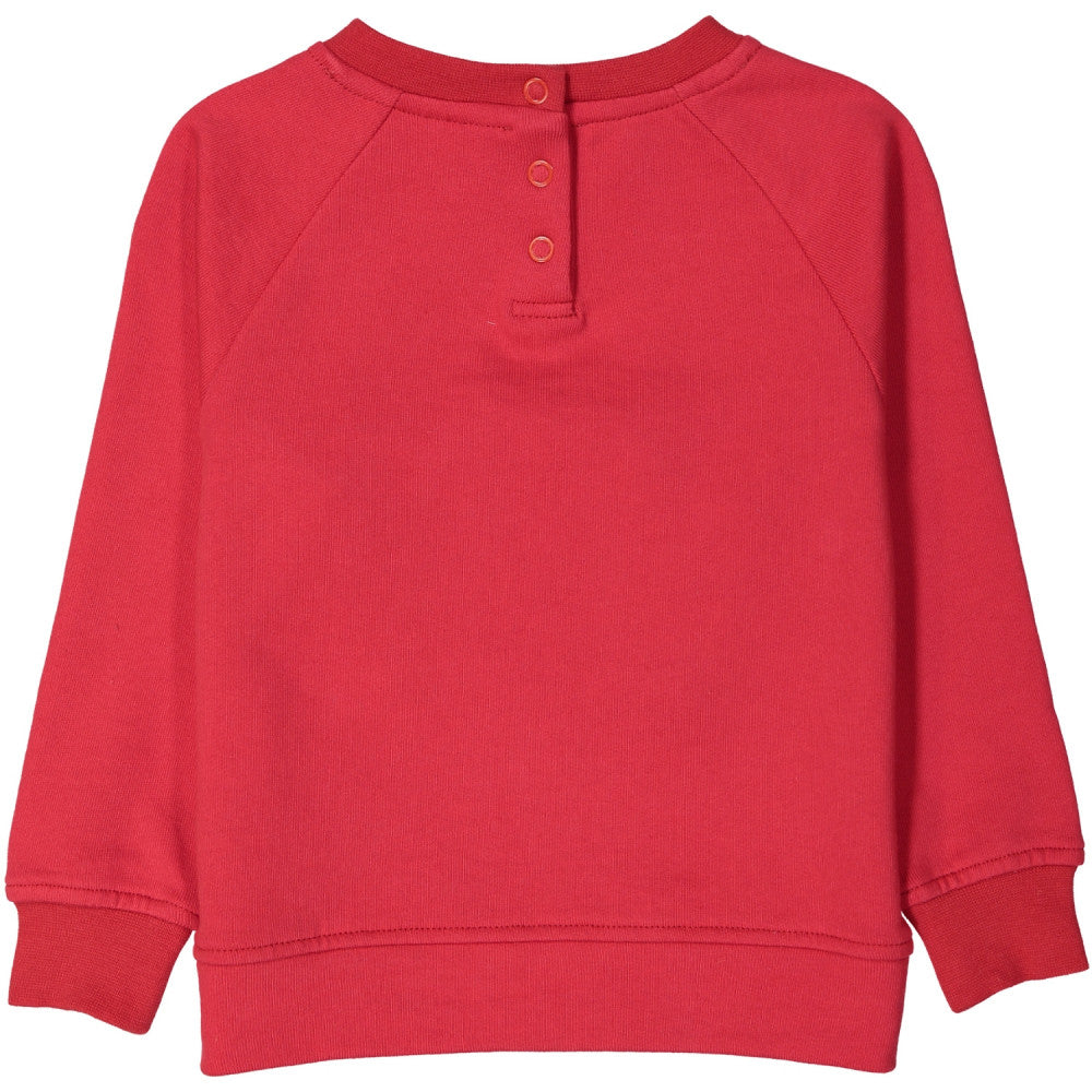 Tootsa Macginty kids BEAR Zip Mouth Organic Cotton Sweatshirt in Bright Red. Ethically made in India.