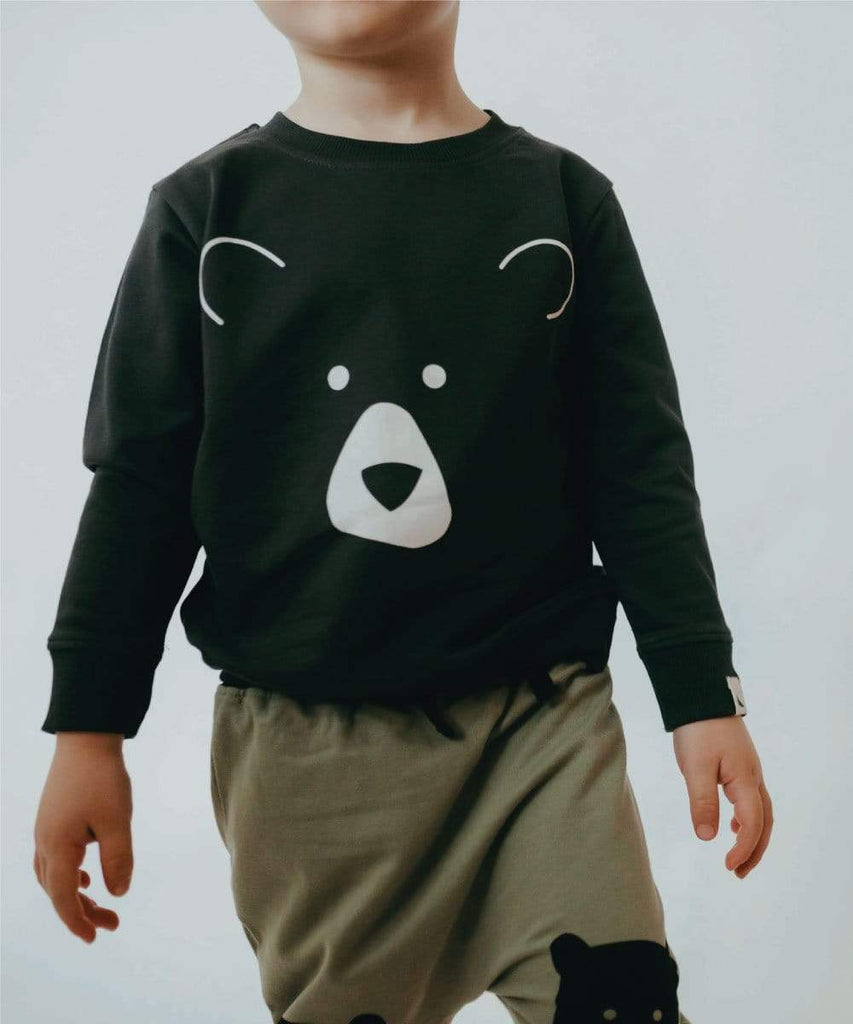 Turtledove London Organic Cotton Sweatshirt with bear face print at the front.