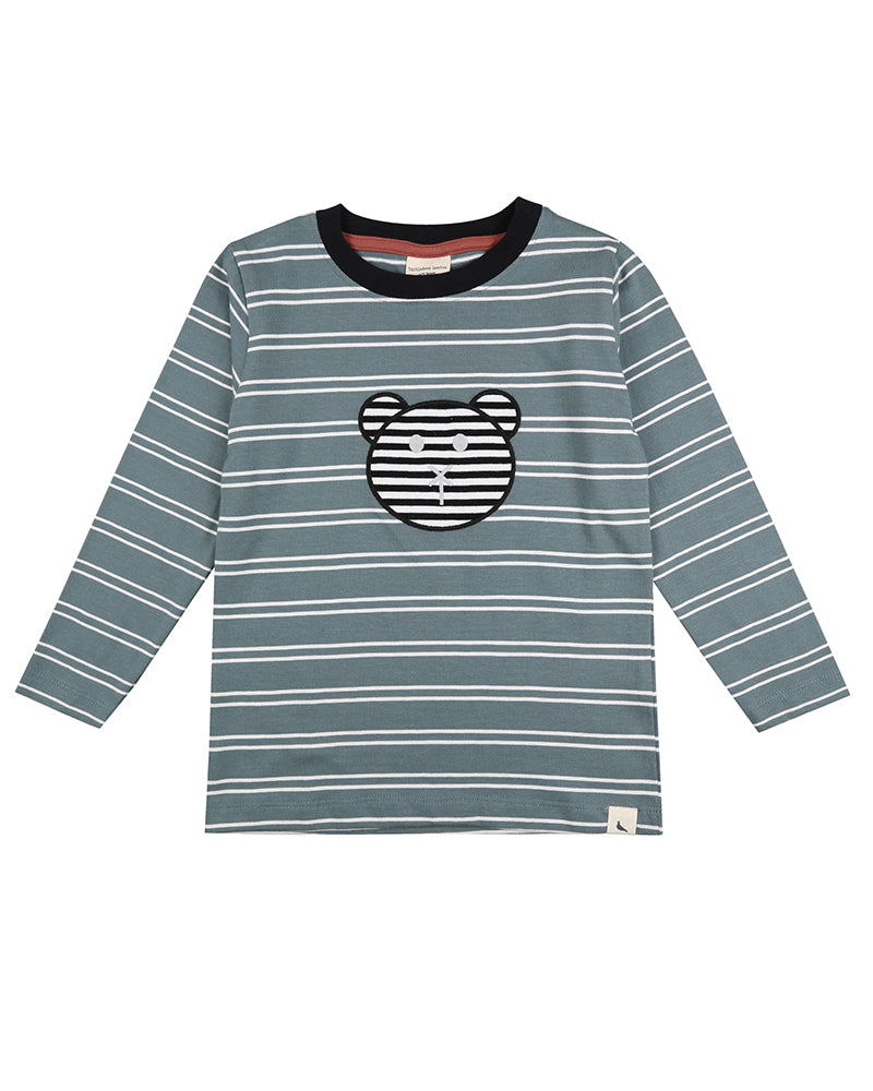 Turtledove London Bear Applique Top. Made ethically in India with 100% GOTS certified organic cotton. Long sleeves, and crewneck.