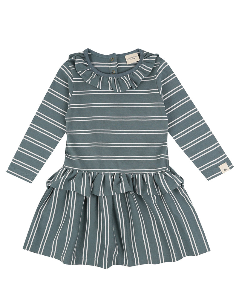 Turtledove London jersey dress. Ethically made in India from GOTS certified organic cotton jersey, the soft fabric is inserted as frills to neck and waist for a pretty finish. Stripe option in new Steel colourpop is a contemporary choice for 0-6 years.