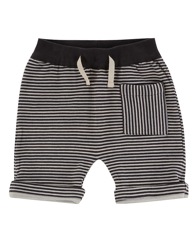 Turtledove London Reversible Jersey Stripe Shorts. Made ethically in India with 100% GOTS certified organic cotton. Features one front pocket on one of the sides
