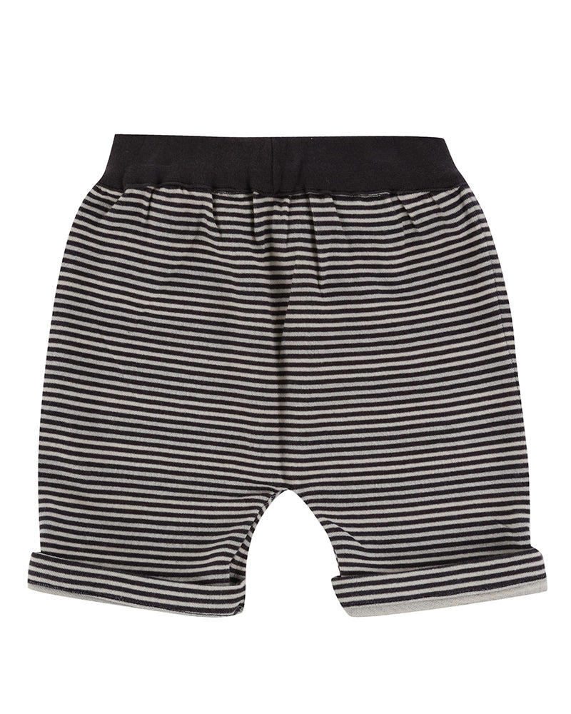 Turtledove London Reversible Jersey Stripe Shorts. Made ethically in India with 100% GOTS certified organic cotton. Features one front pocket on one of the sides. Back side.