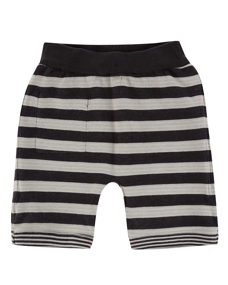 Turtledove London Reversible Jersey Stripe Shorts. Made ethically in India with 100% GOTS certified organic cotton. Features one front pocket on one of the sides. Side 2.
