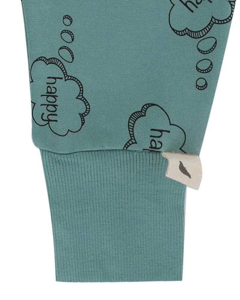 Turtledove London Happy thoughts harem pants in green. Gender neutral kids clothes, made of GOTS certified cotton.