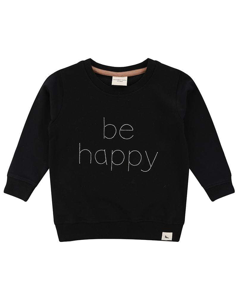 Turtledove London embroidered Be Happy sweatshirt in back. Made of 100% GOTS certified cotton. Gender neutral kids clothes.