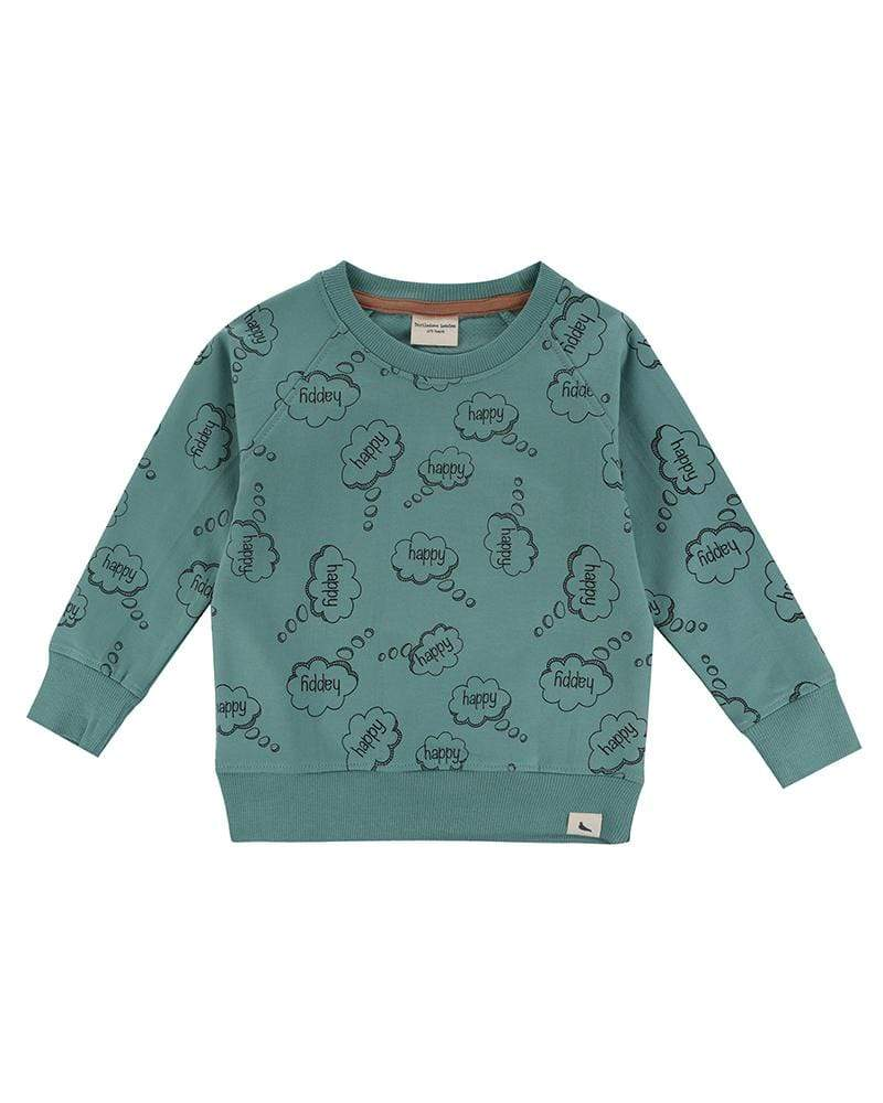 Turtledove London Happy thoughts green sweatshirt. Ade with GOTS certified cotton. Gender neutral kids clothes.