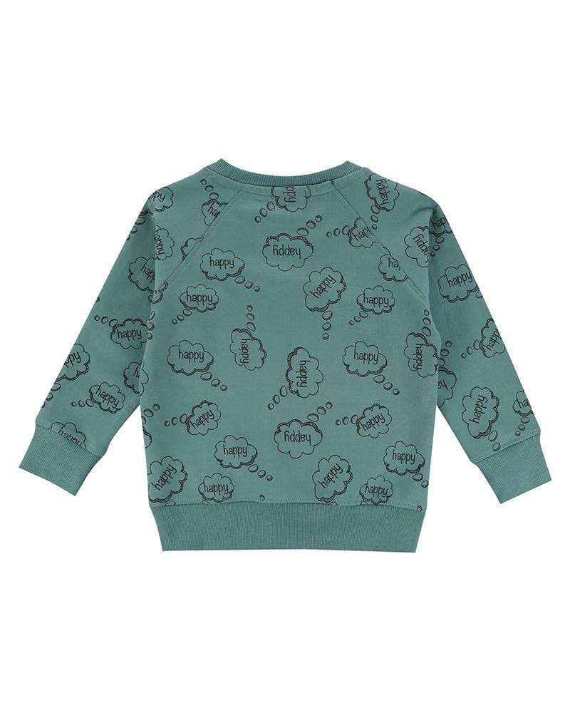 Turtledove London Happy thoughts green sweatshirt. Ade with GOTS certified cotton. Gender neutral kids clothes. Back