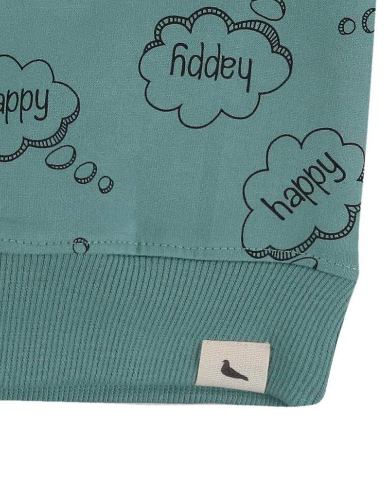 Turtledove London Happy thoughts green sweatshirt. Ade with GOTS certified cotton. Gender neutral kids clothes. Close up 2