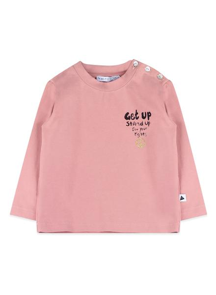 Turtle neck or crew neck pink top with long sleeve. It has a caption that sats Get Up and Stand Up for your rights.