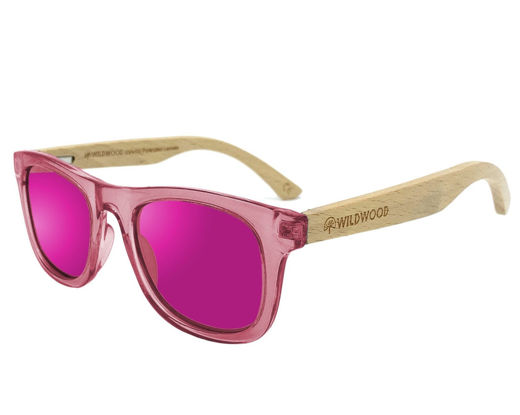 Wildwood kids' polarized sunglasses with recycled plastic frames and solid beech wood arms. Colour Pink.