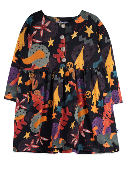 autumn girls dress, multicolour and long sleeve, with pockets. Ethically made with organic cotton.