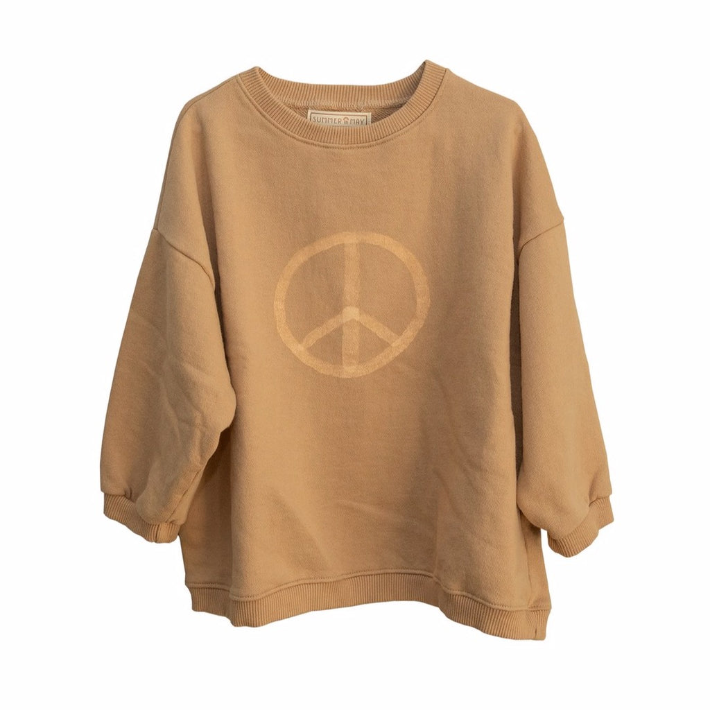 Summer in May peace sign kids sweatshirt. Ethically made in India with 100% cotton.