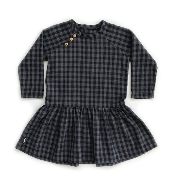 Drop-down waist black and grey check dress made of 100% Cotton in Los Angeles.