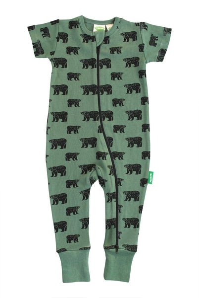 Two-Way Zip Romper Green Bears