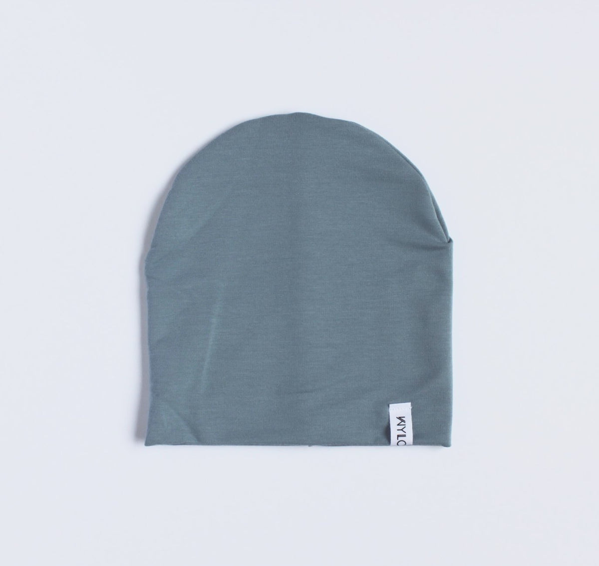 Blue beanie  made of double lined organic bamboo cotton.