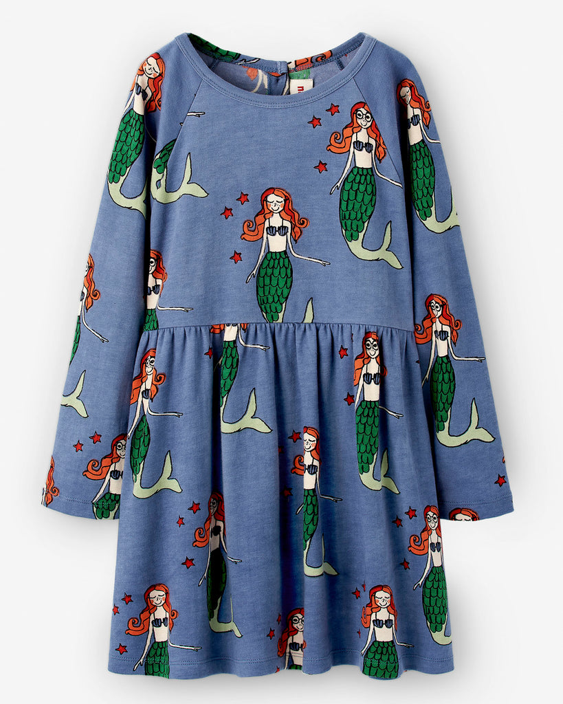 NADADELAZOS mermaid dress print. Long sleeve. Made ethically with 100% organic cotton.
