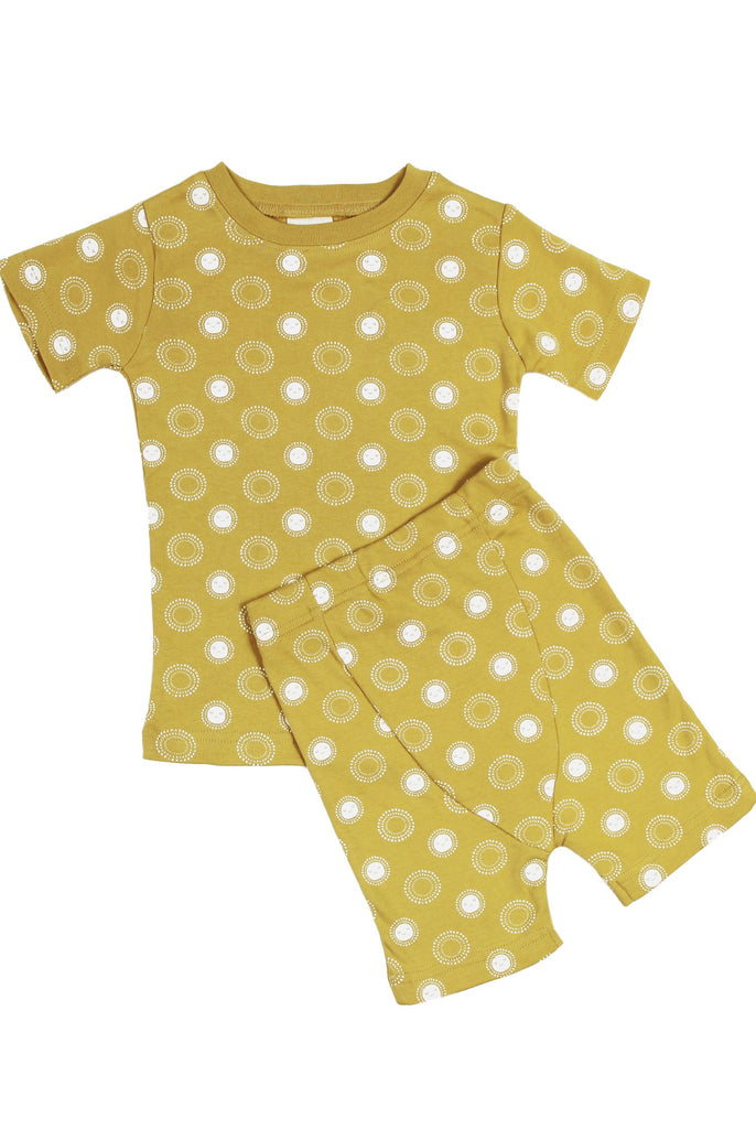 Parade Organics Organic Kids Summer Pajamas-Golden Sunshine print. Short sleeve.