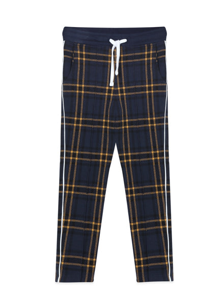 plaid pants in navy